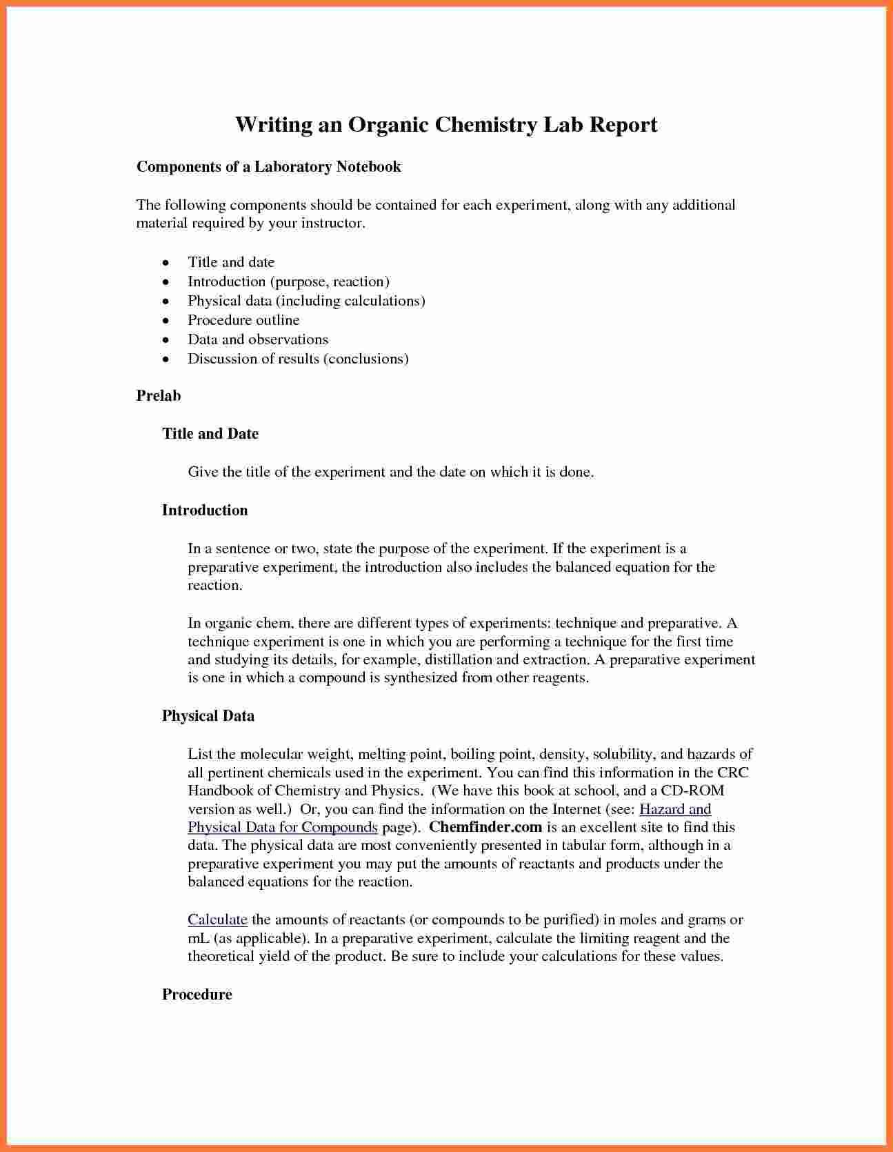 Organic Chemistry Lab Report Example Also Ibmistry Lab Throughout