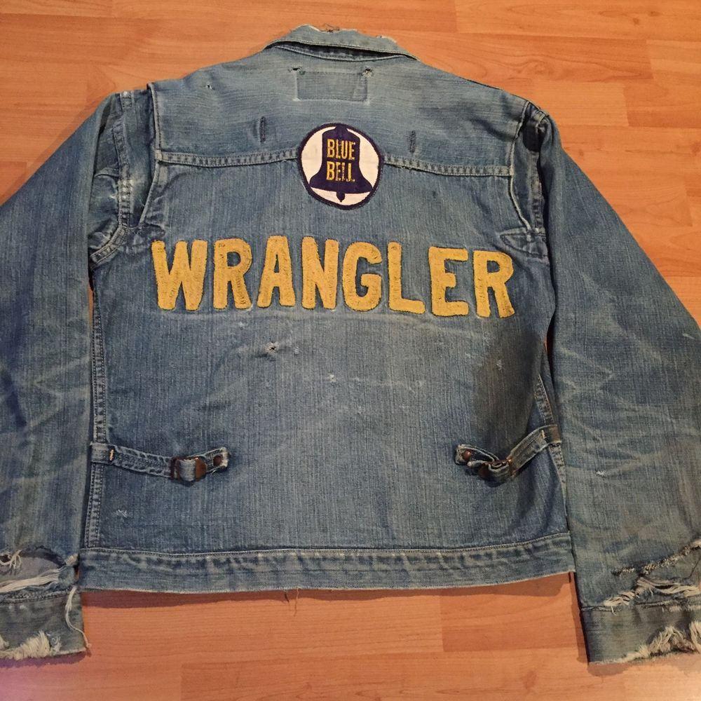 1759fa960d7 VINTAGE 1950'S WRANGLER BLUE BELL PLEATED RODEO DENIM JACKET -ORIGINAL -38-  NR