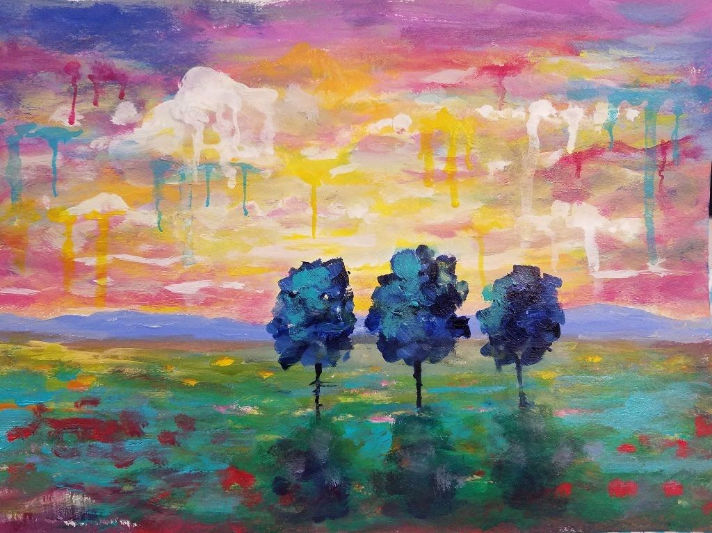 Easy sunset landscape drip trees live beginner acrylic for Abstract watercolor painting tutorial