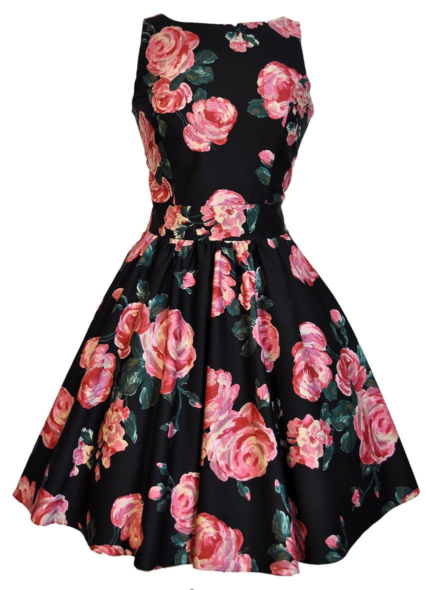 Black & Pink Rose Floral Tea Dress : Lady Vintage