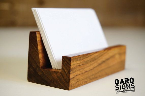 Business Card Stand Rustic Office Decor