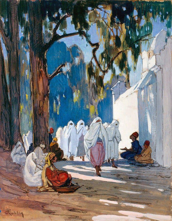 Pierre Roblin, Un vendredi, jour des femmes, au cimetière arabe, Alger. Collection particulière. Musée des Beaux-Arts de Bordeaux