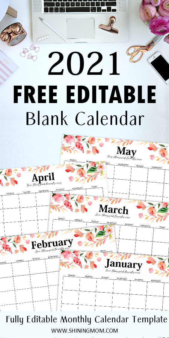 FREE Fully Editable 2021 Calendar Template in Word in 2020 ...
