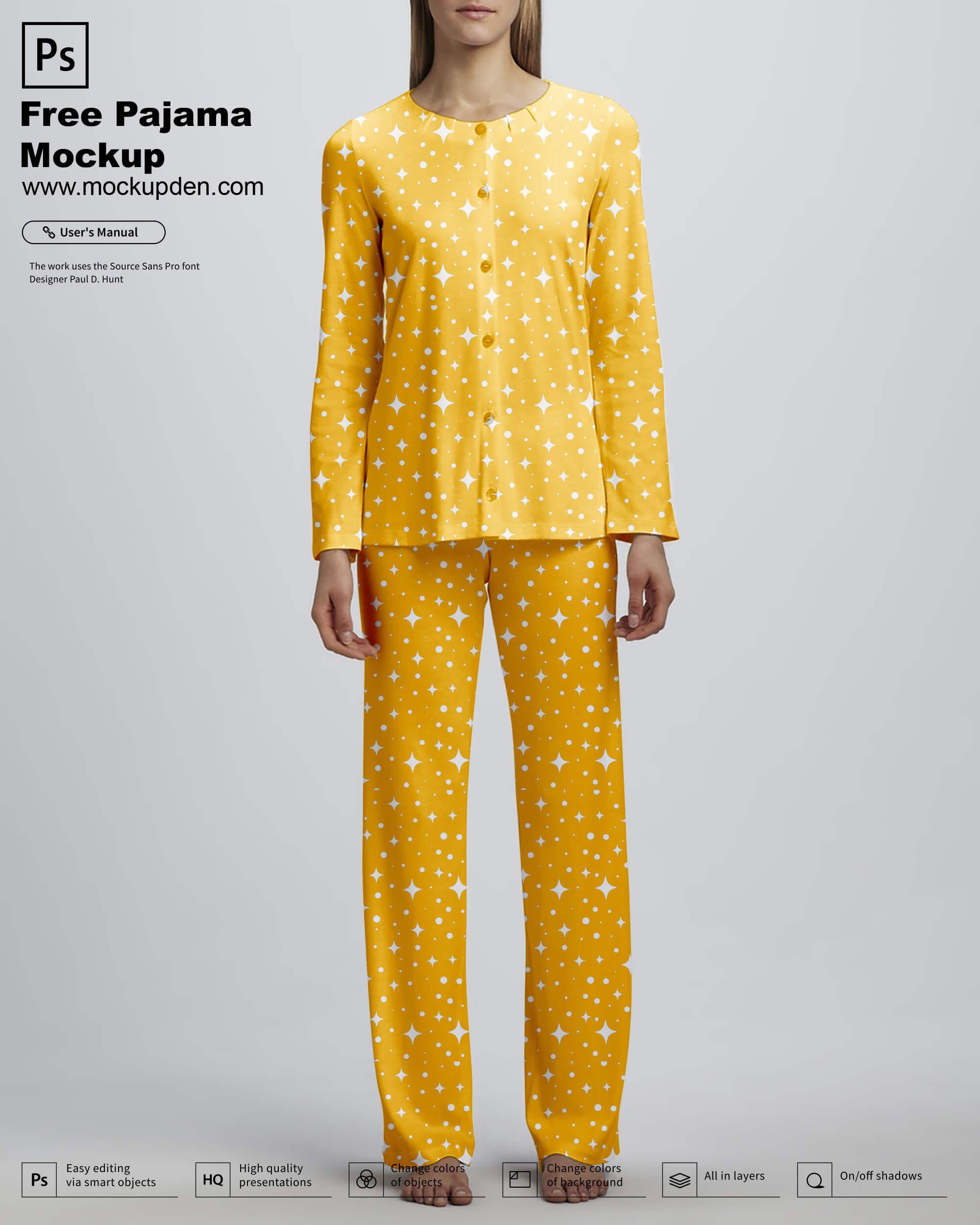 Download Free Pajamas Mockup Psd Template Clothing Mockup Mockup Psd Psd Template Free