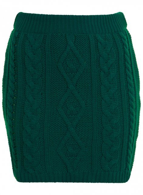 knitted cable short skirt