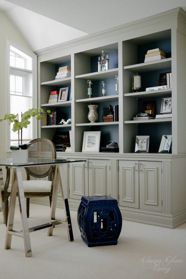 Completed view diy built in office cabinet classy glam for Diy home office cabinets