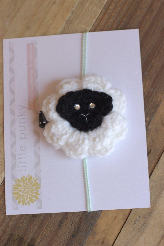 """Crochet Lamb - Crochet Hair Clip, Crochet Hair Bow, Baby Hair Clip, Girls Hair Bow Clip - """"little Lamb"""". $5.00, via Etsy."""
