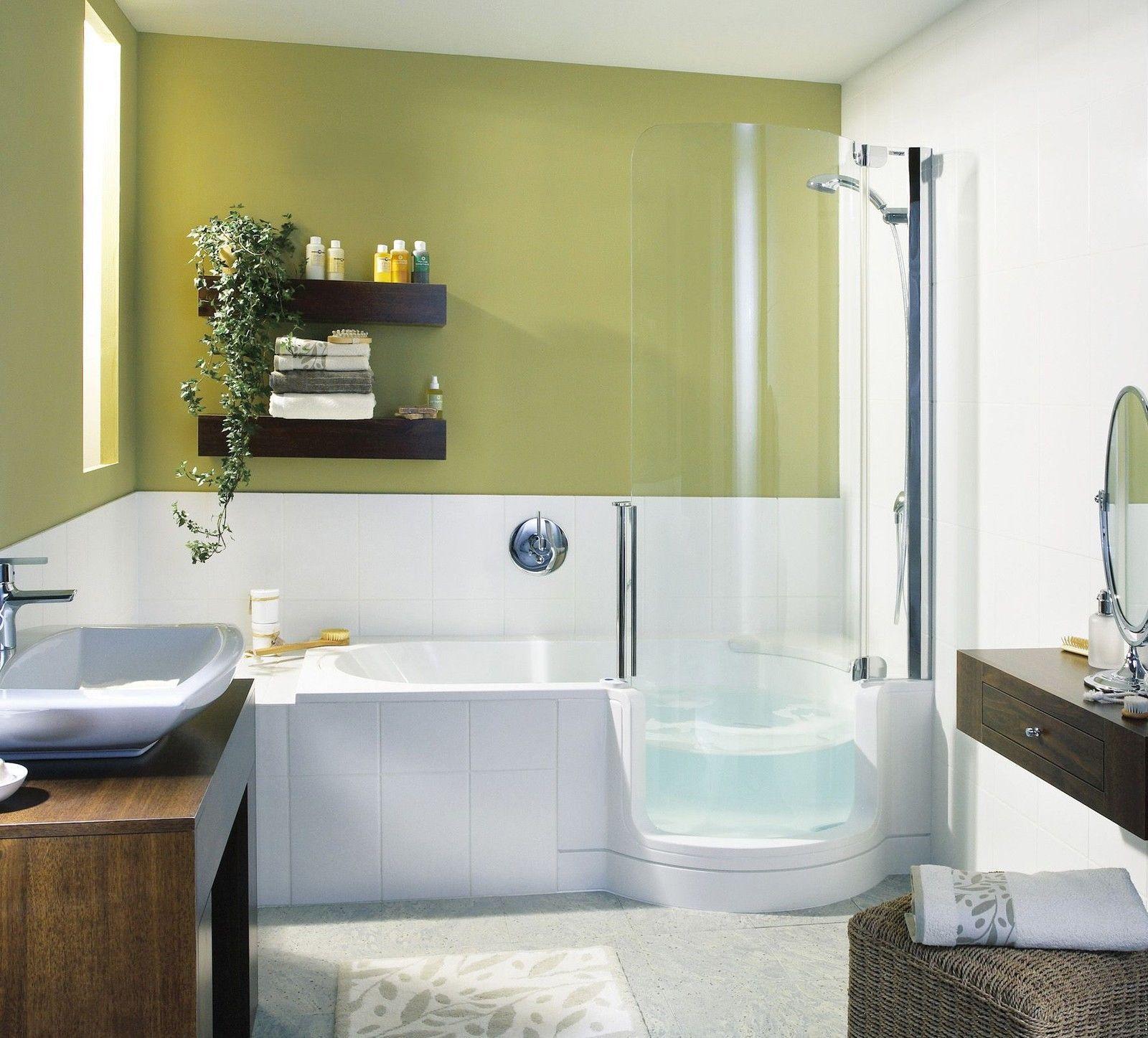 Badezimmerfliesenideen um badewanne artweger twinline  dusch badewanne  mit tür mit glasfront