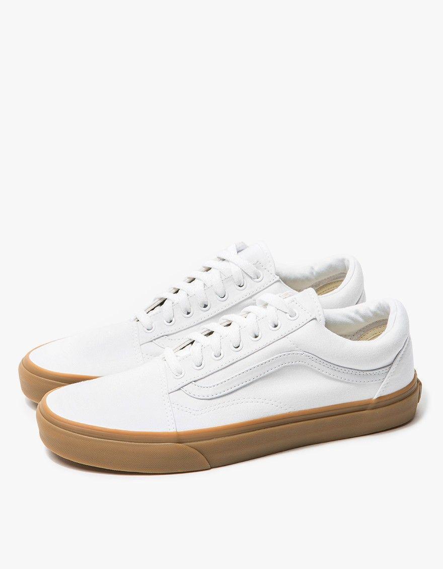Vans Old Skool Gum Sole In True White Mens Vans Shoes Vans Gum Sole Vans Shoes Old Skool