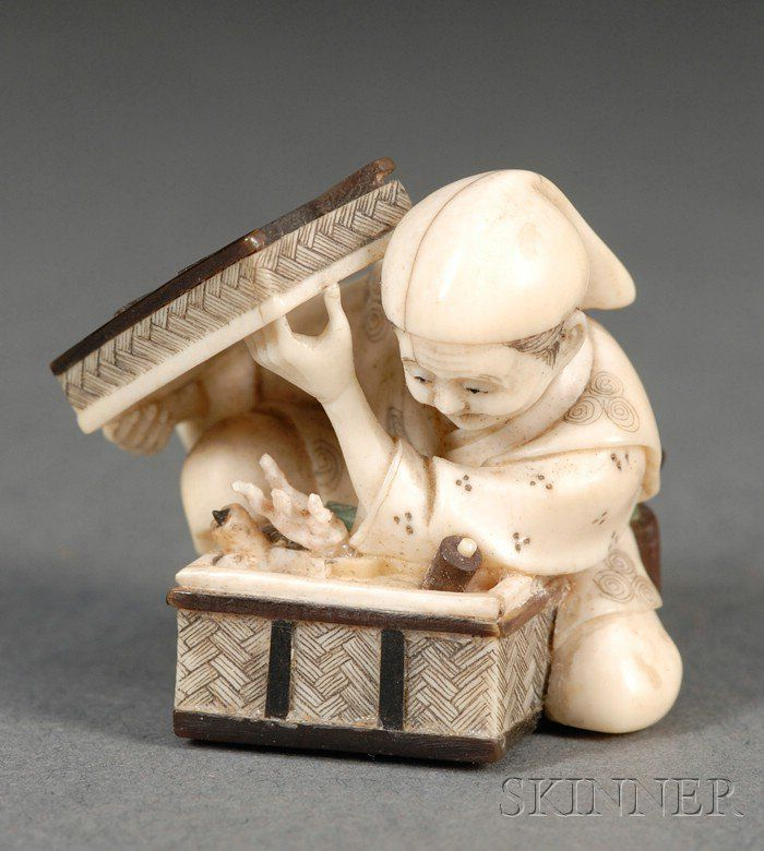 """Ivory Netsuke, Japan, 19th century,from a narrative """"Tongue-Cut Sparrow"""" , figure of a man open a box and find treasure, signed to the underside, ht. 1 1/4 in."""