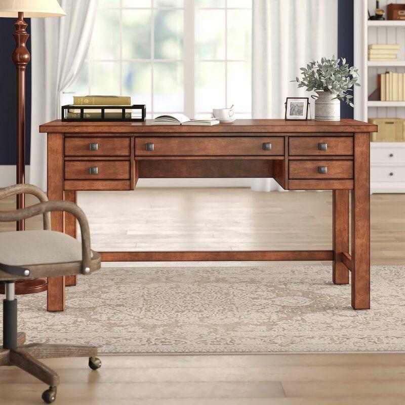 Three Posts Rotherham Desk Reviews Wayfair In 2021 Solid Wood Desk Wood Desk Wood Writing Desk Solid wood writing desk