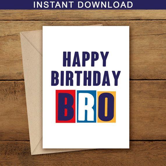 Printable Brother Birthday Card Happy Birthday Brother Card Diy