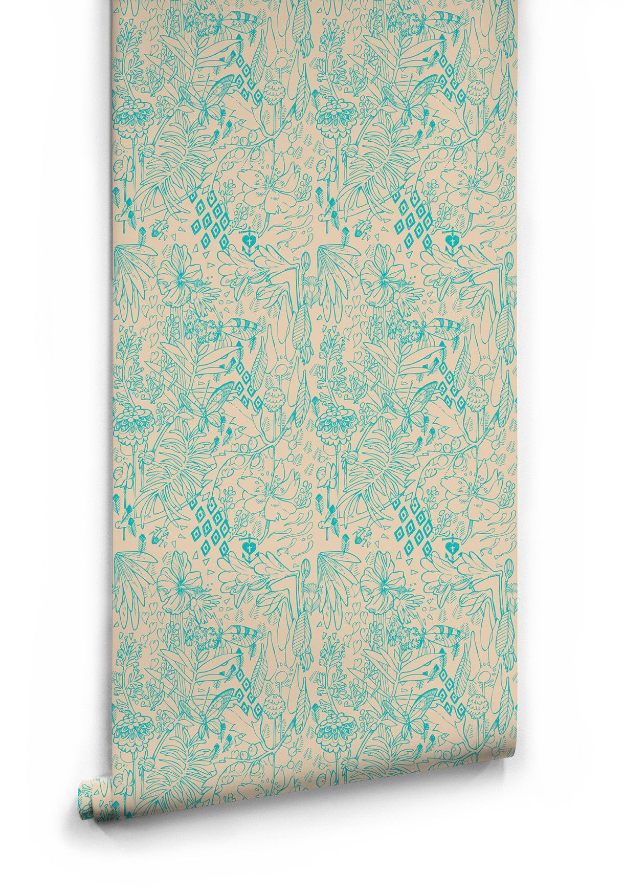 Springtime Boutique Wallpaper in Green Butterfly by Milton & King