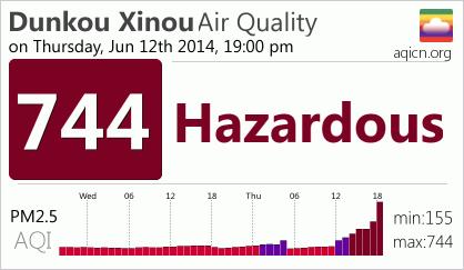 Dunkou Xinou, Wuhan Air Quality Index: 744 - Hazardous -  on Thursday, Jun 12th 2014, 19:00 pm - http://aqicn.org/
