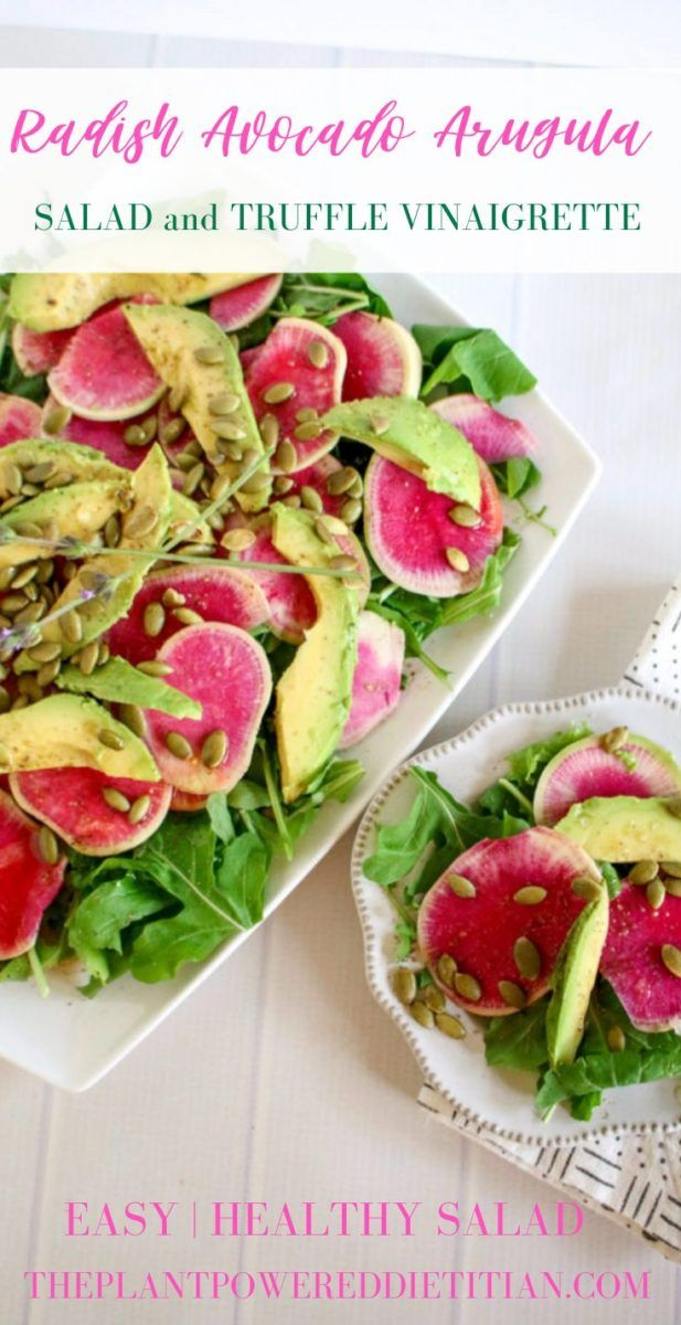 Radish Avocado Arugula Salad and Truffle Vinaigrette (Vegan, Gluten-Free) Celebrate the cold days of winter with this gorgeous, candy-colored with Radishes and It's completely too!