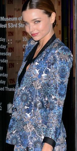 Miranda Kerr in the Helmut Lang Printed Blazer. #prints