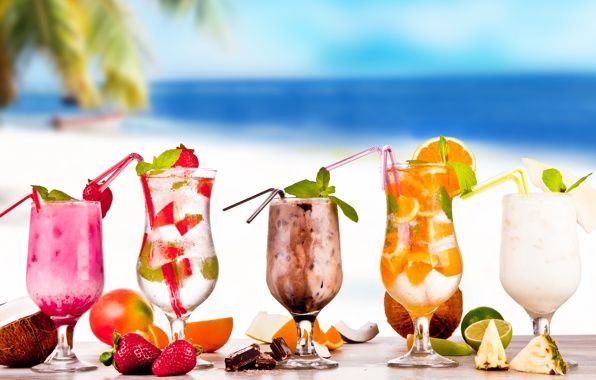 Wallpaper Tropical Cocktails Fruit Fresh Drink Beach Summer Wallpapers Food