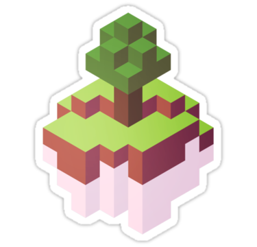 Minecraft Simple Floating Island Isometric Sticker By