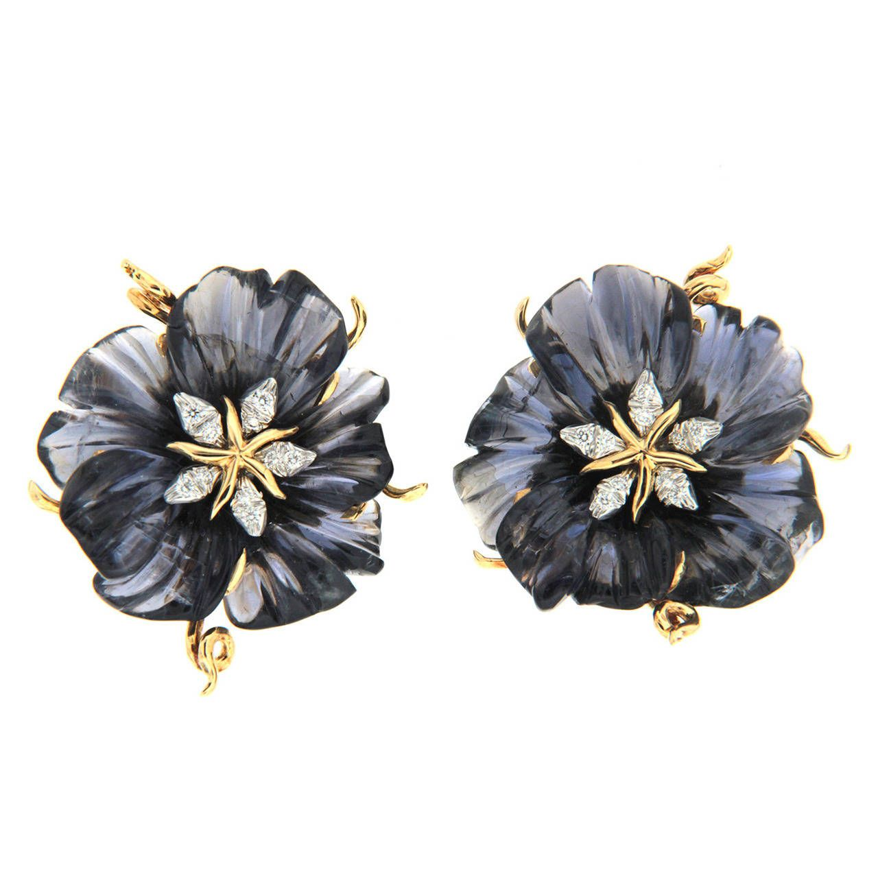 Carved Iolite Flower Earrings with Diamonds | From a unique collection of vintage clip-on earrings at https://www.1stdibs.com/jewelry/earrings/clip-on-earrings/