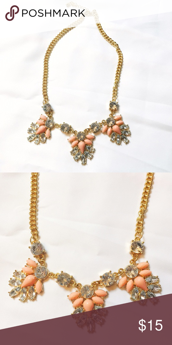 Francesca's Collection Statement Necklace Francesca's Collection Statement Necklace • Never Worn • Peach, Cubic Zirconia Stones Francesca's Collections Jewelry Necklaces