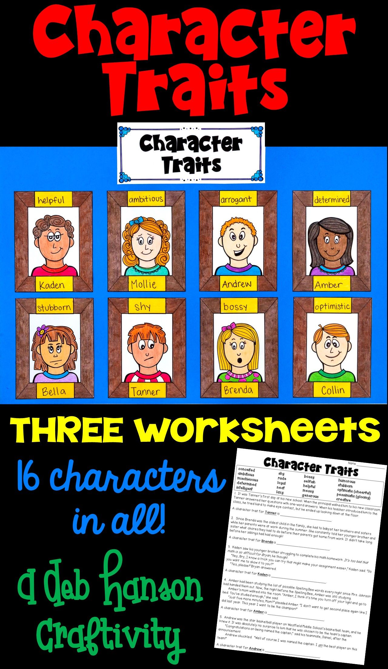 Character Traits Activity For The Upper Elementary Classroom Students Read 15 Passages And Identify Char Character Trait Character Trait Worksheets Craftivity [ 2208 x 1280 Pixel ]