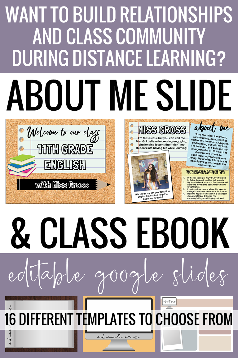 All About Me Google Slides Activity Class Slideshow Ebook Distance Learning Distance Learning Teaching Strategies Online Teaching