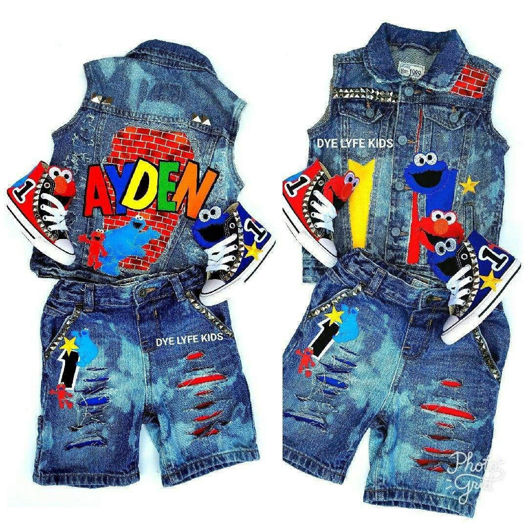 f8a0b9d46 SESAME STREET Brickhouse denim, shoes, distressed custom jacket, vest,  shorts, bleaches