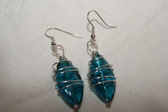 Turquoise Crystal and Silver Wire by OriginalsByMal on Etsy, $12.00