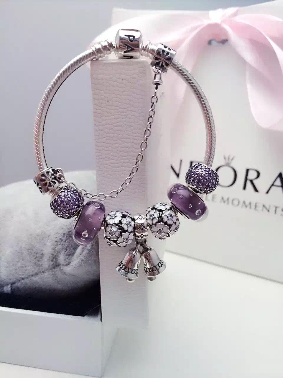 0b0a56fb2 $219 Pandora Charm Bracelet Purple White. Hot Sale!!! SKU: CB01886 - PANDORA  Bracelet Ideas