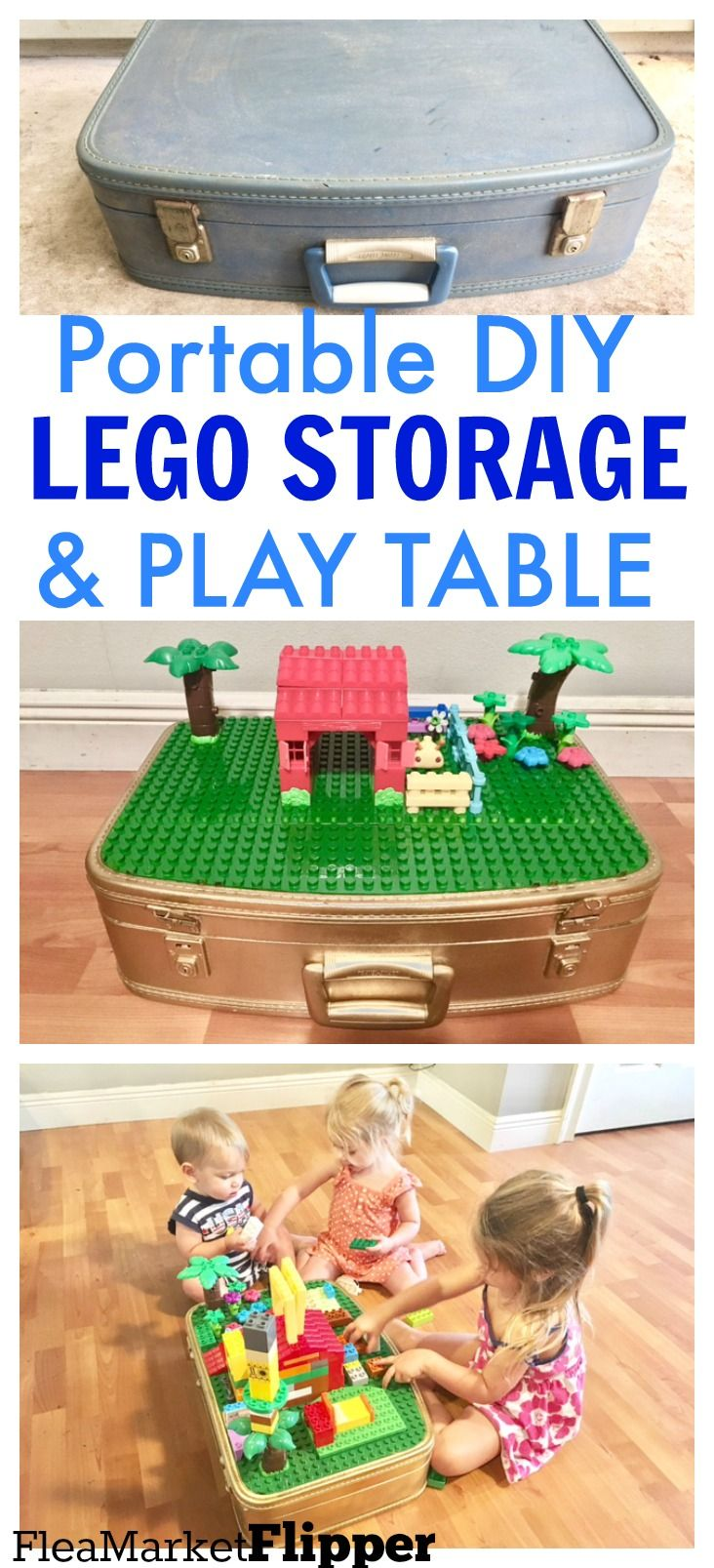 Turn an old suitcase from the FLEA MARKET or THRIFT STORE, into a FUN, CREATIVE play area for kids and their LEGOS!  Taking this with us in our RV! #thriftstoreupcycle