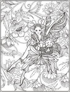 Ein Ausmalbild Einer Elfe Welche Inmitten Von Blumen Sitzt Die Malvorlage Kannst Du Kostenlos Auf Www Mandala Malen Net Au Ausmalbilder Ausmalen Ausdrucken