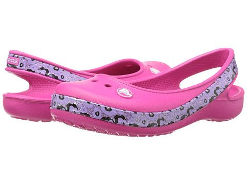 7c01c930acfb Crocs Kids Crocband Genna II Leopard (Little Kid Big Kid) Candy Pink Neon  Purple - 6pm.com