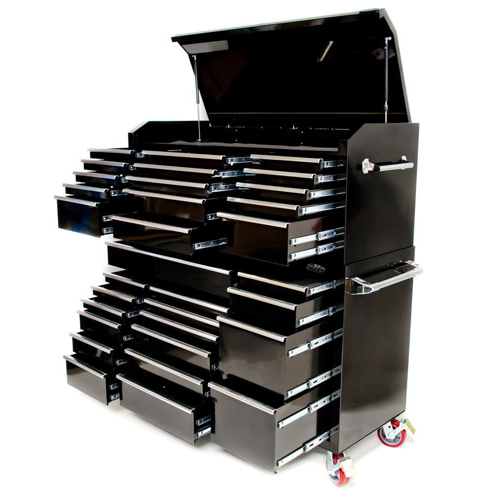 "One of our largest toolbox combinations consists of a 17 drawer roll cabinet and a 15 drawer top chest. Quality materials and the entire unit weighs 383kg. Extra storage compartment on the top chest with a full length piano hinge and 2 gas struts so it doesn't close unexpectedly. Industrial quality 6"" castors. www.justprotools.com.au"