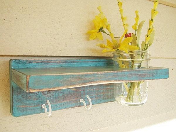 Distressed Wood Keyholder / Shelf, Home Decor, Shabby Chic