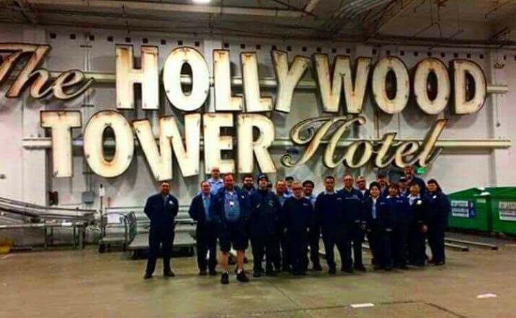 The Hollywood hotel sign is currently on display backstage