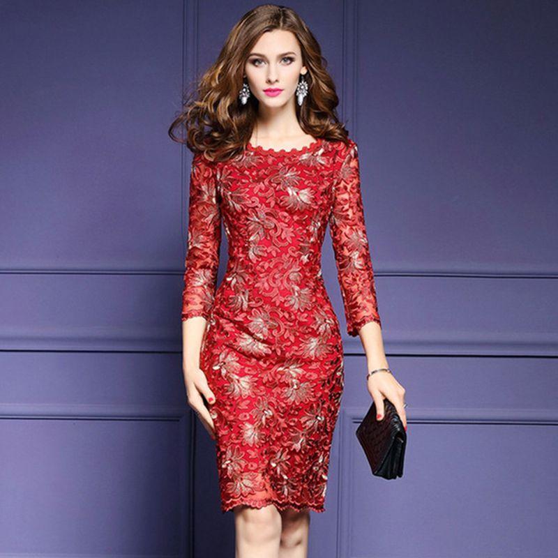 Aliexpress.com: Comprar Elegante Rojo Azul Vestido de Encaje Mujeres ...