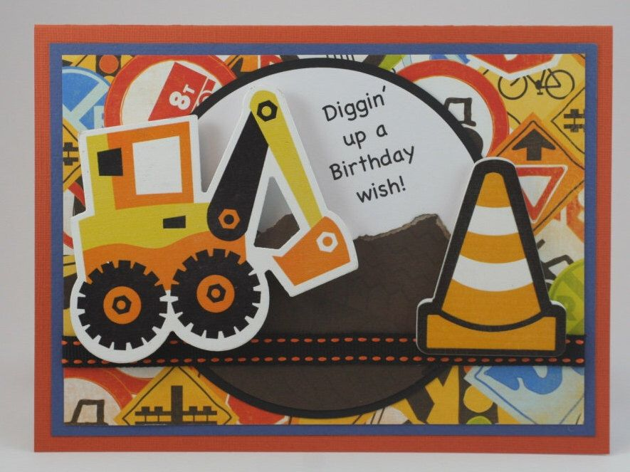 Boy Child Birthday Excavator Construction Greeting Card Gift Diggin Dirt 3d 5x7 Handmade By Tamis Birthday Cards For Boys Construction Birthday Birthday Cards