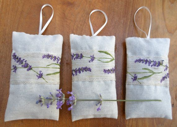 3 lavender bags with French lavender via Etsy