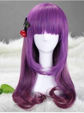 Long Multi-Color/ Purple Beautiful lolita wig Anime Wig 60cm free shipping