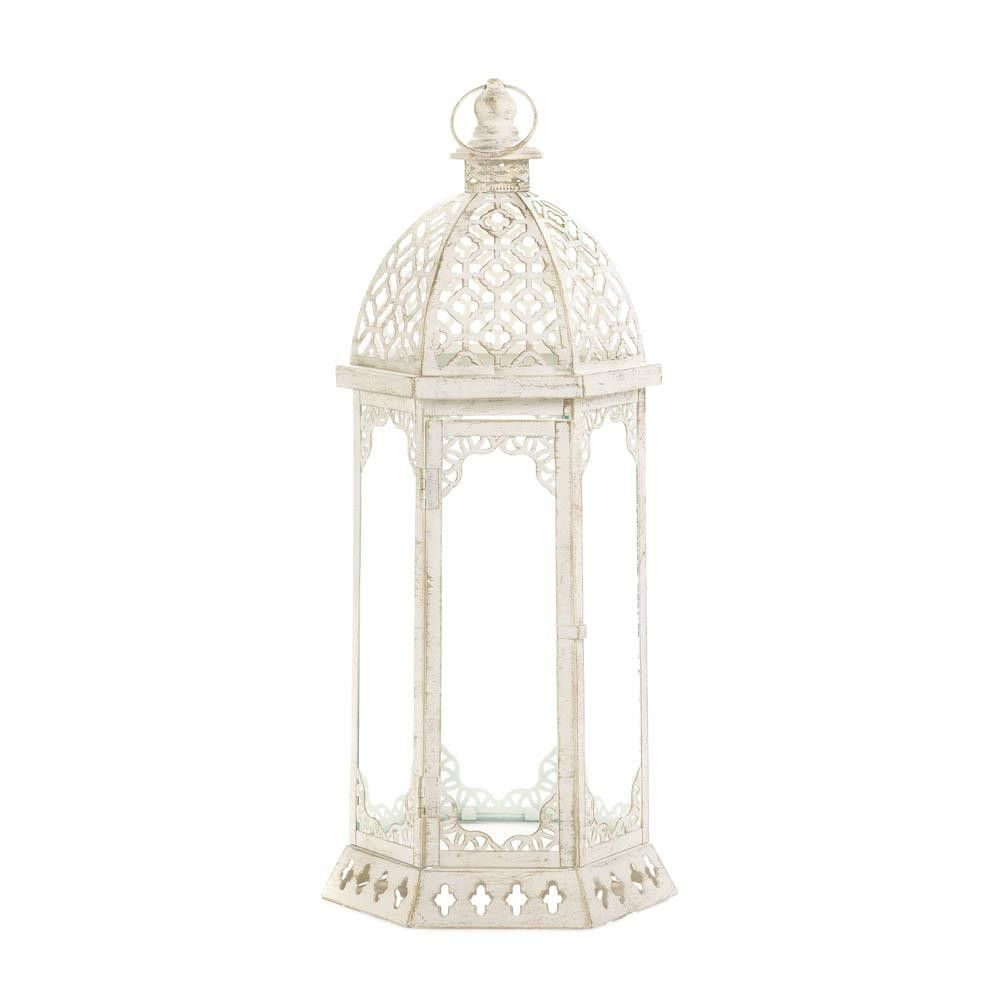 Graceful Distressed White Lantern L Whole At Koehler Home Decor