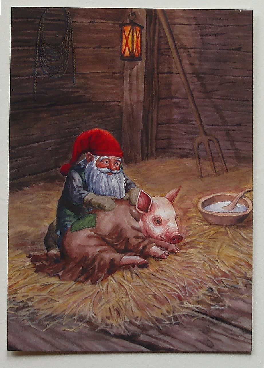 Gnome with Pig in Barn Sweden