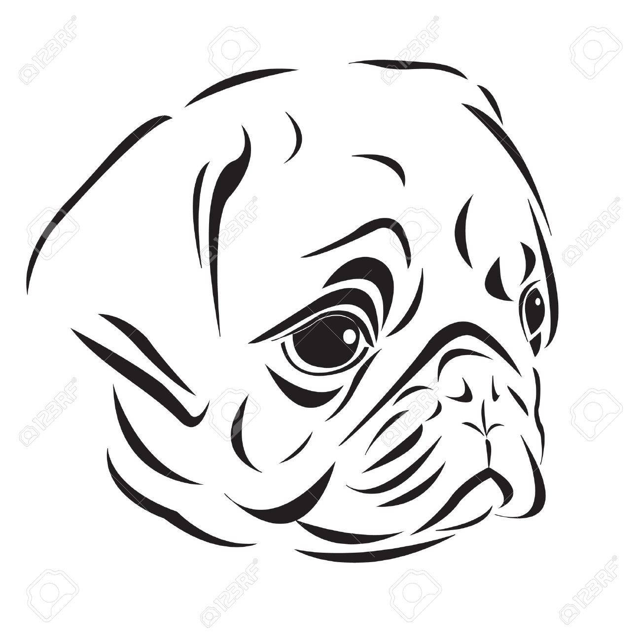 24932890 The Line Art Of Pug Head Stock Vector Dog Jpg 1 300 1 300