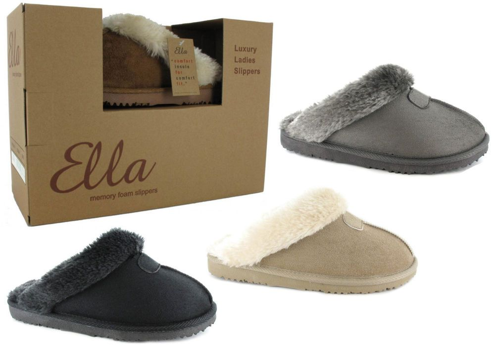 5a919b525b2e6 Luxury Ladies Slippers that have a memory foam insole and are fully fur  lined. New