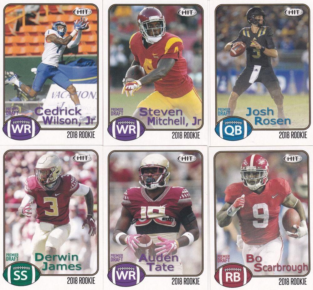 2018 sage hit premier draft football rookies 6 card lot
