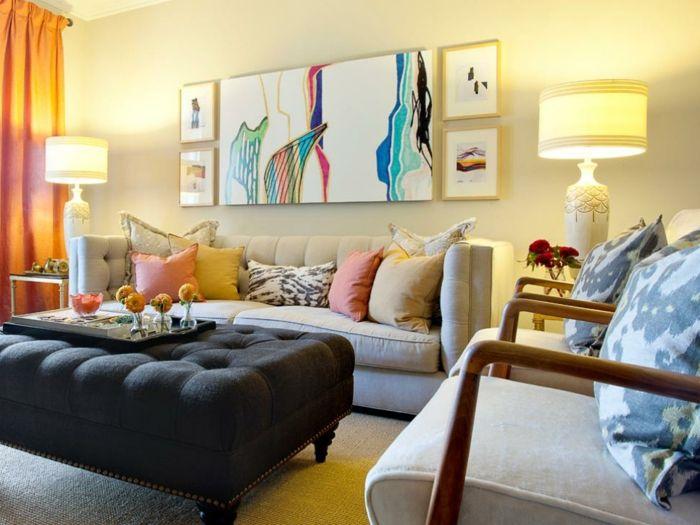 Salones modernos sal n con cuadro abstracto sof beige - Sillones pequenos para salon ...