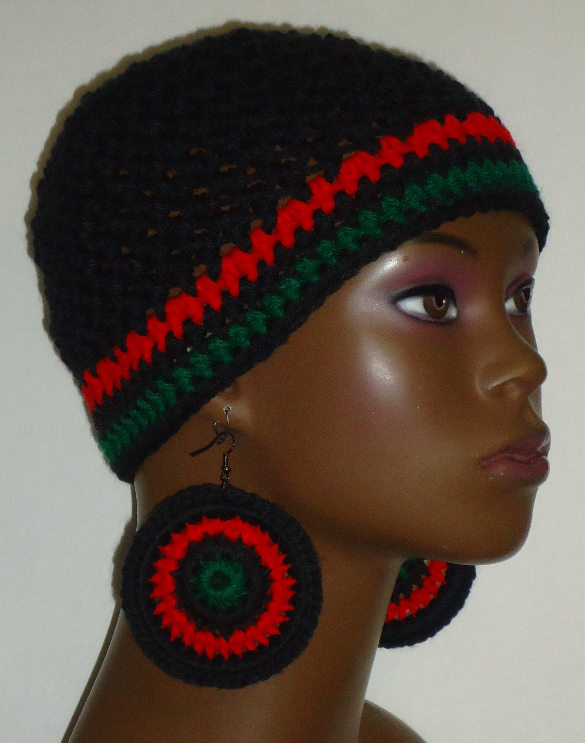 Pan-African Trim Crochet skull cap beanie and earrings by Razonda Lee Red  Black Green e51529e5ece