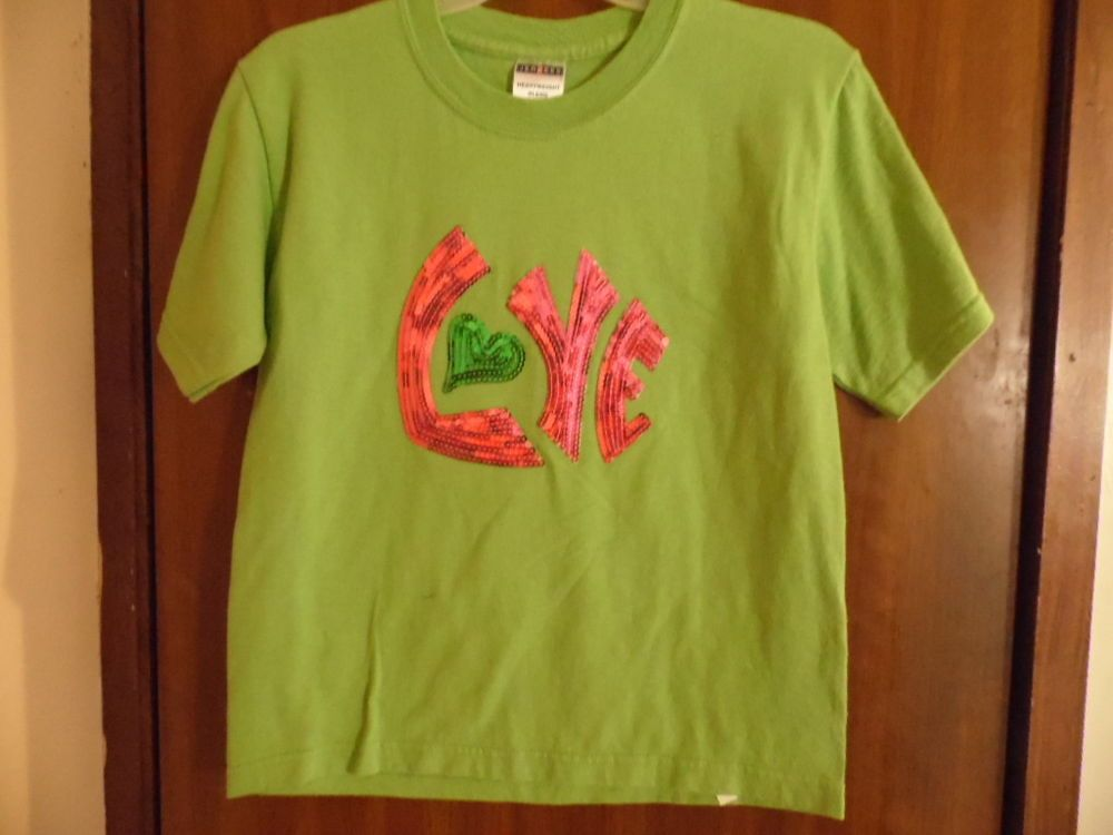 T-shirt Green  with Sequin Love on front T-shirt #JERZEES