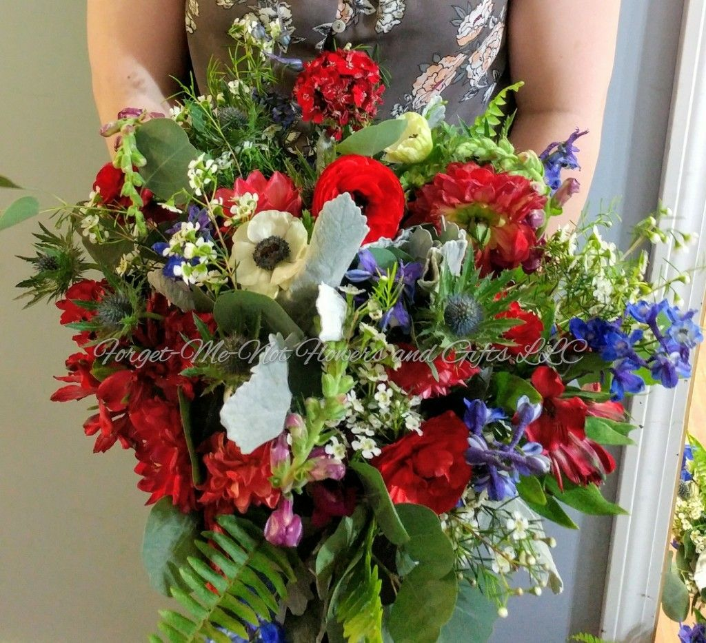 Wedding bouquets not flowers  Red White and Blue Wildflower Bridal Bouquet by ForgetMeNot