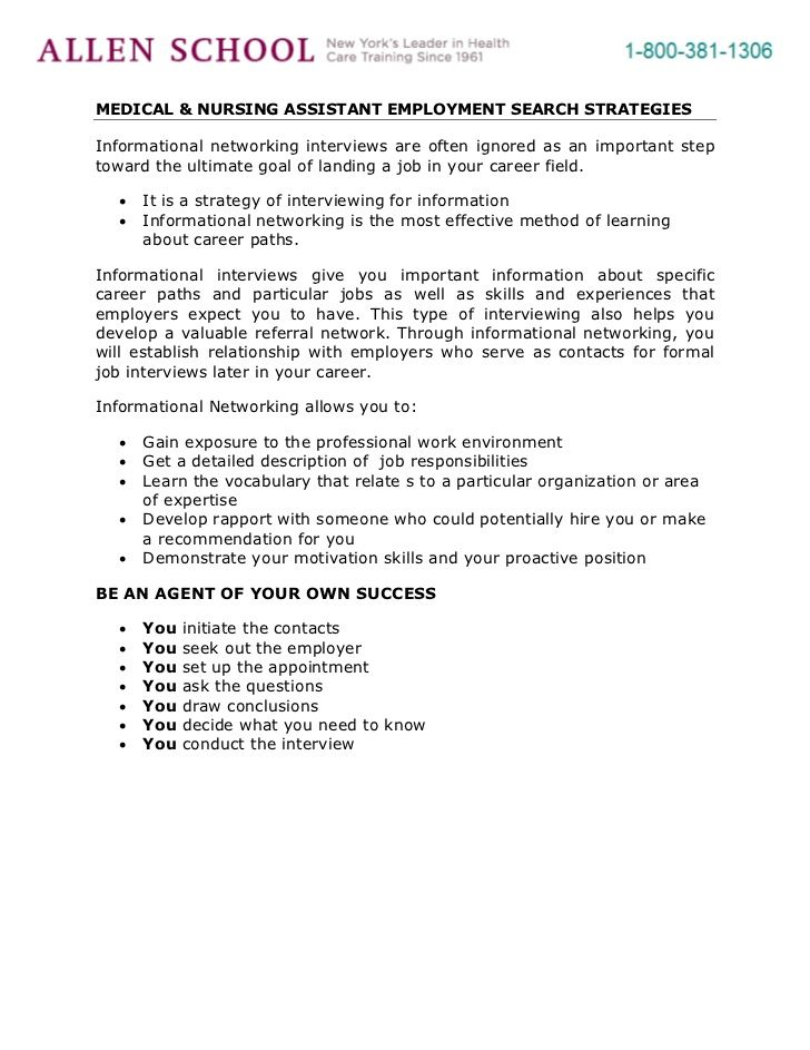 Medical Amp Nursing Assistant Employment Search