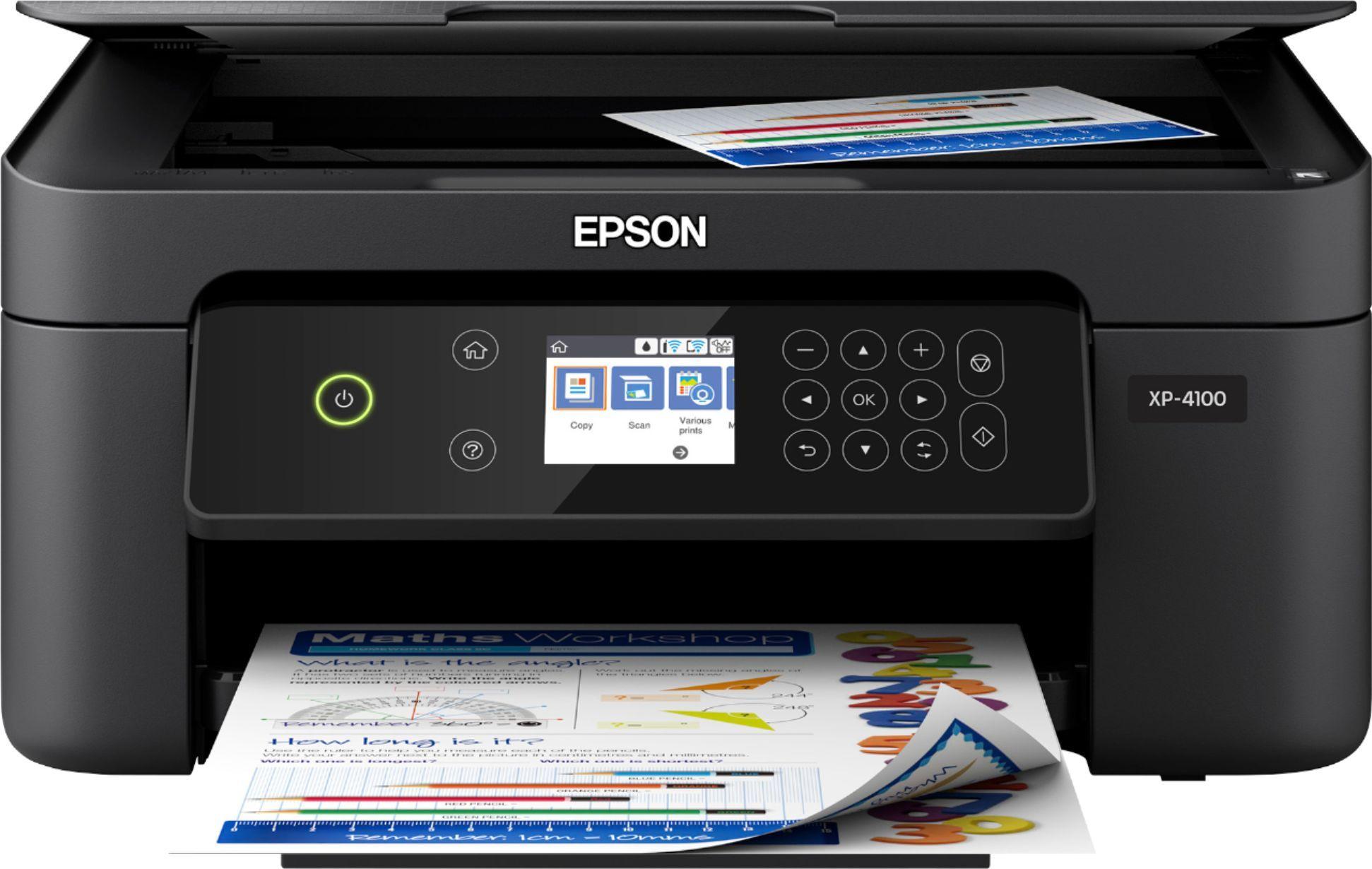 Epson Expression Home Xp 4100 Wireless All In One Inkjet Printer Black Epson Xp 4100 Printer C11cg33 Best Buy Inkjet Printer Epson Epson Printer